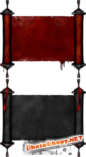 Two Beautiful Scroll - Red And Black