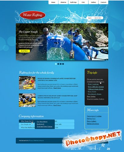 Free Rafting River Website Template