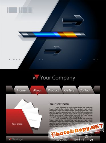 Shutterstock - Folder Shaped Website Template & Abstract Background EPS