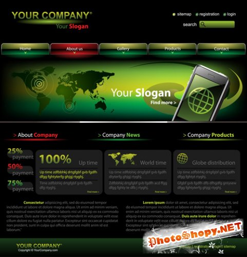 Shutterstock - Company Web Site Design Vector Template-2, EPS