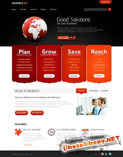 Red & Black JS Animated Website Free Template
