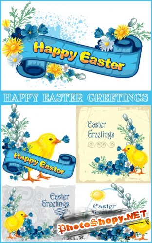 Happy Easter Greetings - Stock Vectors