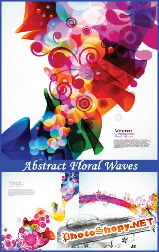 Abstract Floral Waves - Stock Vectors