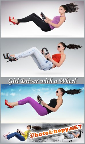 Girl Driver with a Wheel - Stock Photos