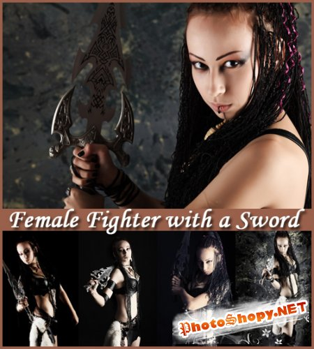 Female Fighter with a Sword - Stock Photos