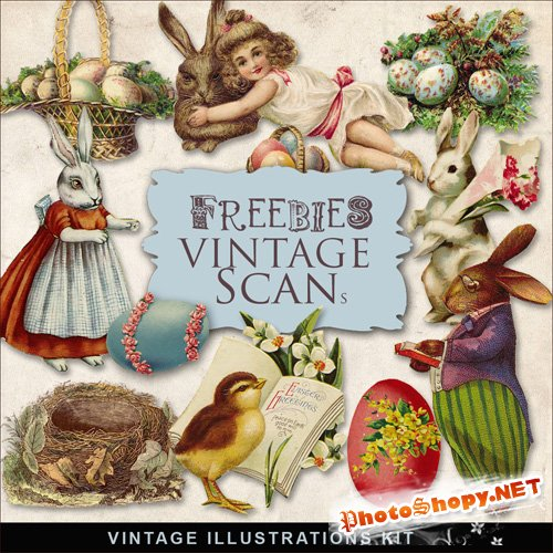Scrap-kit - Vintage Easter Illustrations #4