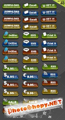 3D Shiny Buttons - GraphicRiver