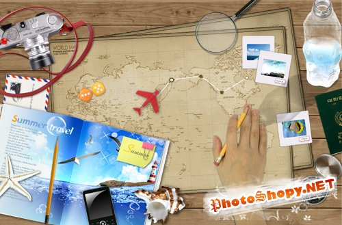 Bookmark Desktop - model aircraft on the world map