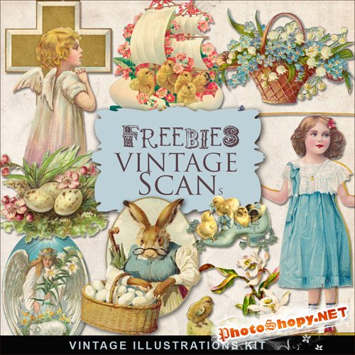 Scrap-kit - Vintage Easter Illustrations #7