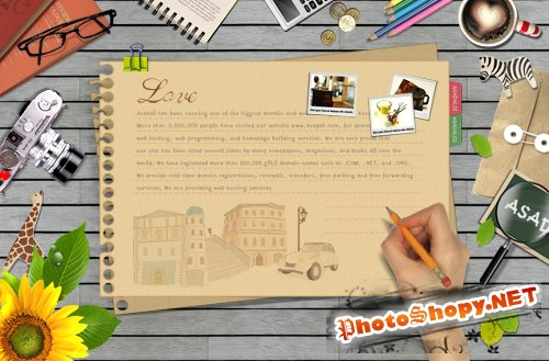 Bookmark Desktop - with a pencil to write on the stationery