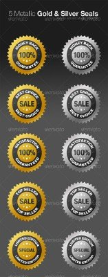 Metallic Gold and Silver Seals - GraphicRiver