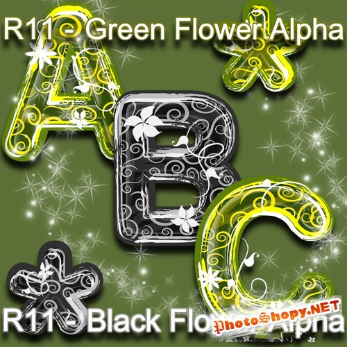 Scrap-kit - Black Flower and Green Flower Alpha