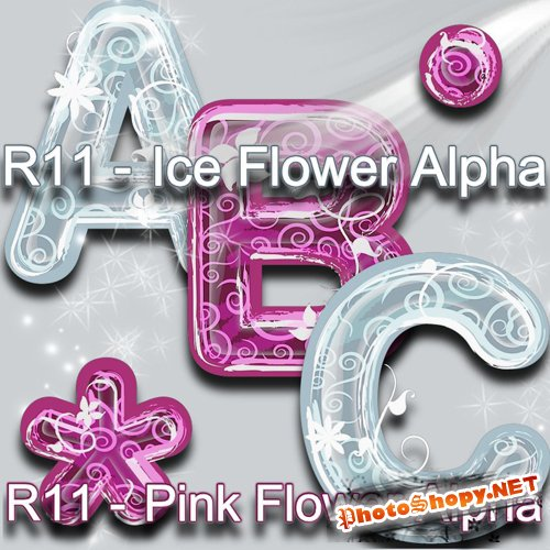 Scrap-kit - Pink Flower and Ice Alpha