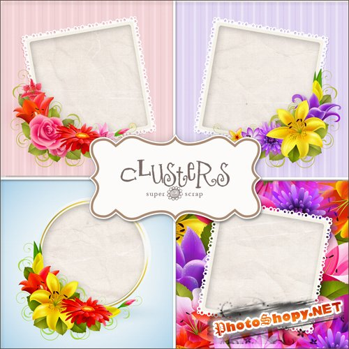 Scrap Pages - Custer Flower Frames Kit