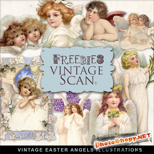 Scrap-kit - Vintage Easter Angels Illustration