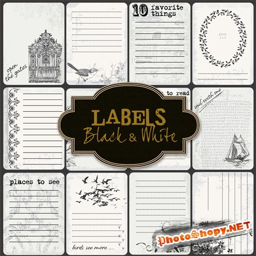 Scrap-kit - Black & White Lables
