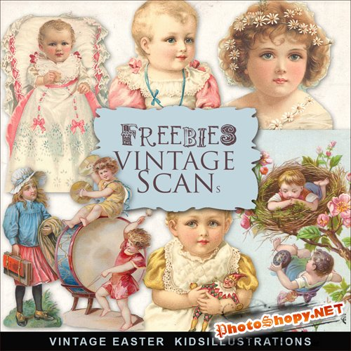 Scrap-kit - Vintage Easter Kids Illustrations