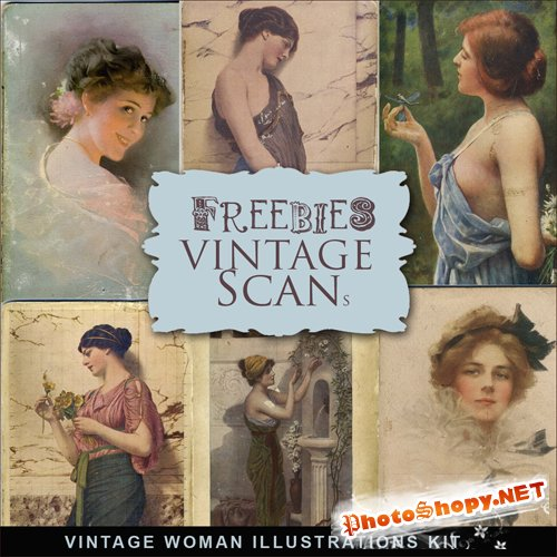 Scrap-kit - Vintage Woman Illustrations