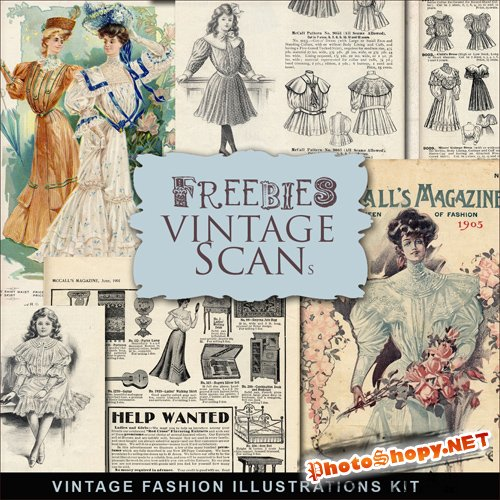 Scrap-kit - Vintage Fashion Illustrations #2