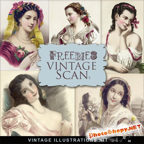 Scrap-kit - Vintage Woman Illustrations #3