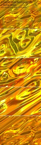 5 Liquid Gold Backgrounds - GraphicRiver
