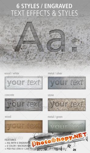 6 Text Effects and Styles: Engraved - GraphicRiver