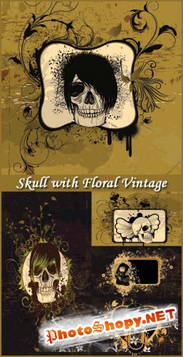 Skull with Floral Vintage - Stock Vectors