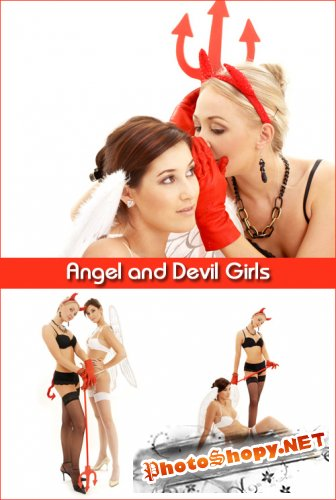 Angel and Devil Girls - Stock Photos
