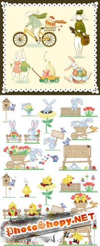 Easter Bunny Cartoon Vector Design Elements