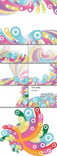 Colorful Circles On White Backgrounds Vector