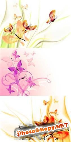 Butterflies and Flowers - Backgrounds