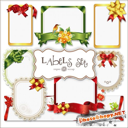 Scrap-kit - Ribbons Labels Set