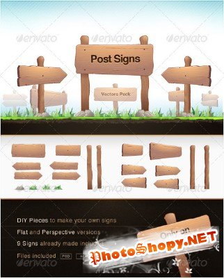 Post Signs Vector Pack - GraphicRiver