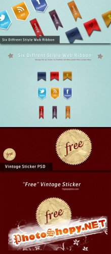 Stylish Web Ribbons & Vintage Sticker PSD