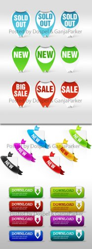 PSD Web Elements - Download Buttons, New Ribbons, Sale Stickers