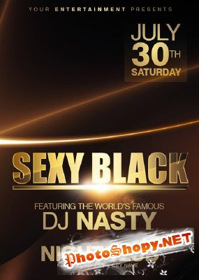 River Sexy Black Party Flyer