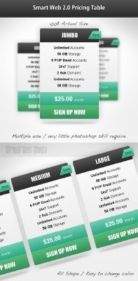 Smart web 2.0 pricing table