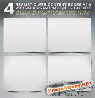 Realistic web content boxes shadows