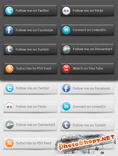 Social Network Buttons - dark & night