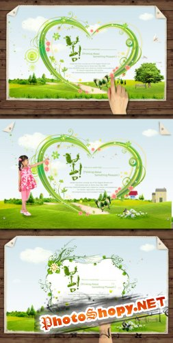Summer green Background PSD