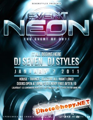 Neon poster flyer template