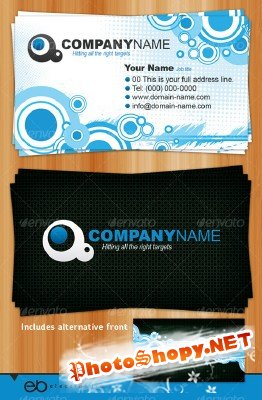 Generic business card circles and halftones