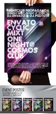 River Cosmos Summer Party Nightclub Poster Flayer