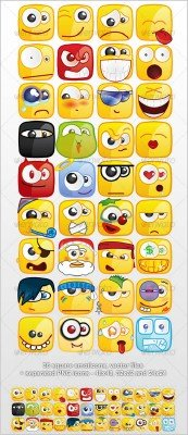 36 Square emoticons PACK - GraphicRiver