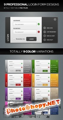 Professional login form design in 9 colorstyles