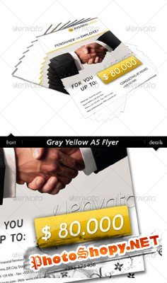 GraphicRiver - Gray Yellow A6 Flyer