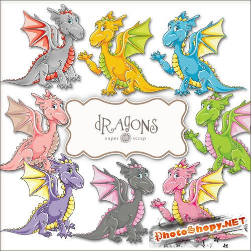 Scrap-kit - Dragons Set #1