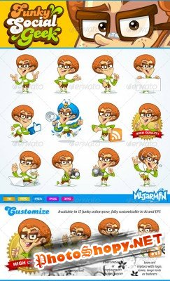 Funky Social Geek mascot