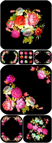 Flowers Vector Bakgrounds - color, black background, vector