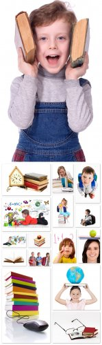 School Cliparts - school, education, children, books